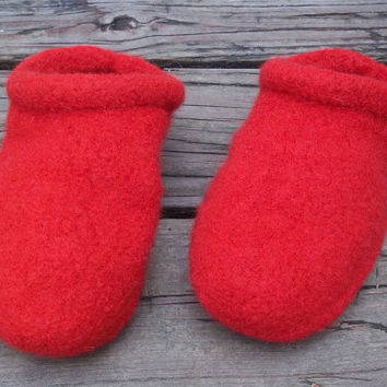Felt Clog Slippers Red