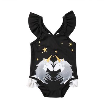 Snuggling Unicorn One Piece Swimwear Swimsuit Children's Bathing Suits Black Beach Wear
