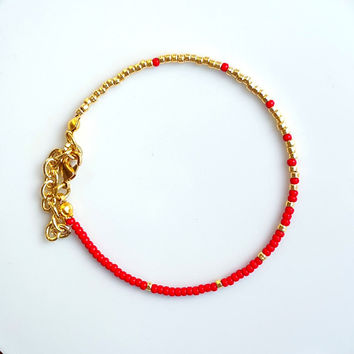 Red and Gold Ombré Seed Bead Bracelet