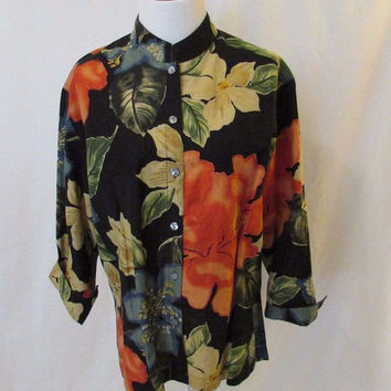 Chico's Design Floral Blouse Shirt Mandarin Collar 3/4 Sleeves Medium