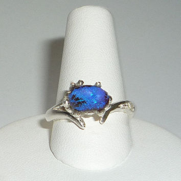 Natural 1.27ct Australian Blue Boulder Opal Ring Sterling Silver Peridot