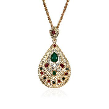 Religious Gold Plated Rhinestones Drop Pendant Necklace Muslim Jewelry for Women