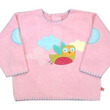 Zutano Embroidered Owl Pink Sweater
