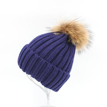 Dwayne mink and fox fur ball cap pom poms 18cm size winter hat for women girl 's hat knitted beanies cap brand thick female cap
