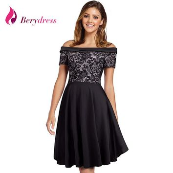 Berydress Sexy Women Off the Shoulder Short Sleeve Black Dress Lace Patchwork Casual A-line Swing Skater Dress Short