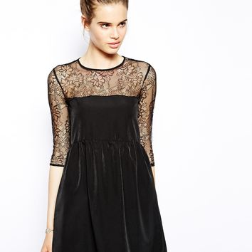 Oh My Love Swing Dress with Lace Insert
