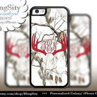Red Antlers Monogram iPhone 5C 6 Plus Case Browning iPhone 5s iPhone 4 case Ipod White Camo Deer Personalized Country Inspired Girl