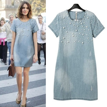 Light Blue Faded Pearl Bead Short Sleeve Denim Tunic Mini Dress