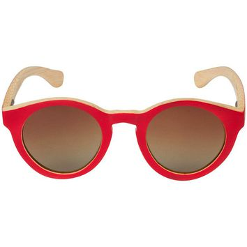 Cherry Bamboo Wood Sunglasses with Round Frame