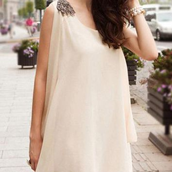 Womens Chiffon Dress - Light Beige / Full Bias Cut Overall