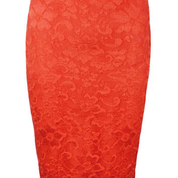 LACE MIDI SKIRT CORAL