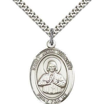 "Saint John Vianney Medal For Men - .925 Sterling Silver Necklace On 24"" Chain... 617759287318"