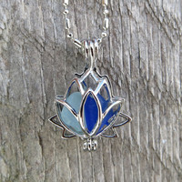 Sea Glass Lotus Flower Locket Cobalt Blue and Aqua Duo by Wave of LIfe