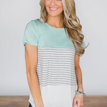 Timeless Beauty Mint Colorblock Top