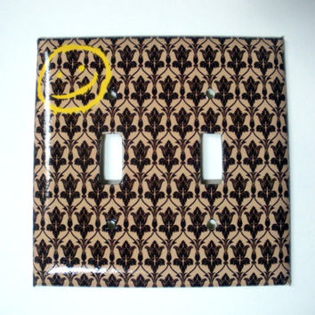 BBC Sherlock Wallpaper and Happy Face Double Switch Plate Cover