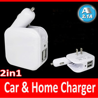 New 2in1 US/EU USB travel adapter,home and car charger,Multifuction good car Charger+US plug/EU plug+2 USB Power Adapter