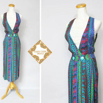 Vintage dress / 1980s / high waist / Ikat print / by MardyStark