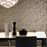Tangled Rings Wallpaper in Beige and Metallic design by Studio 465
