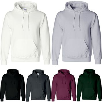 Mens Fleece Plain Hoodie Contrast Sweatshirt Hooded Top Boy Sports Jumper S-2XL