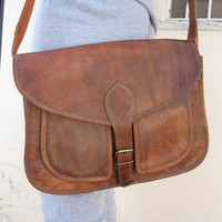 Leather purse messenger bag Leather purse Cross body tote