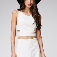 Some Days Lovin Concho River Linen Crop Top - Womens Shirts - White