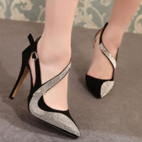 All-match Fashion Super Women Heels Shoes Shallow Mouth Hollow Pointed Head Shoes