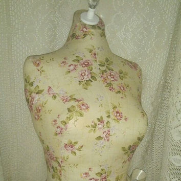 Cottage Rose Dress form bust to the waist, jewelry making store mannequin vintage craft show booth display decor