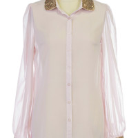 Blushing Rose Sequin Blouse