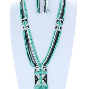 Cross AZTEC Trendy Chevron Seedbead Long Fringe Necklace and Earrings Set Beaded Fashion Black Turquoise Bead Costume Jewelry Gift