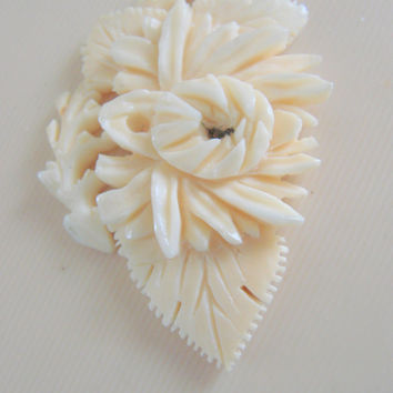 Antique Hand Carved Bone Floral Pendant / Signed China / Oriental / Jewelry / Jewellery