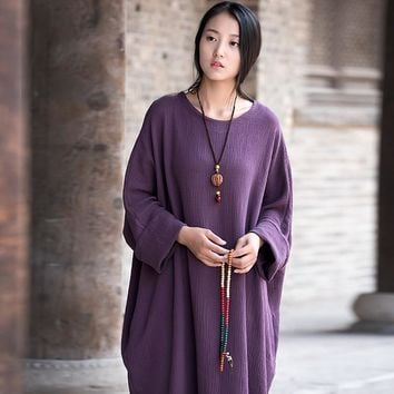 Plus big size Batwing Cotton Women Long Dress Oversized Zen style Solid Robe Femme Gown Dresses Loose Casual Maxi Dress C118