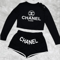 Chanel Trending Fashion Cami Crop Long Sleeve Shirt Top Tee Pullover Shorts Set Two-Piece Sportswear