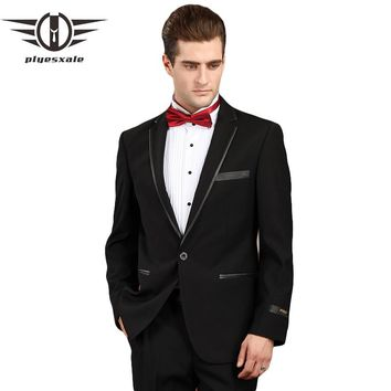 Men Suit Black Prom Suits For Men Formal Wear Tuxedos Jacket Slim Fit Wool Suit Luxury Clothing