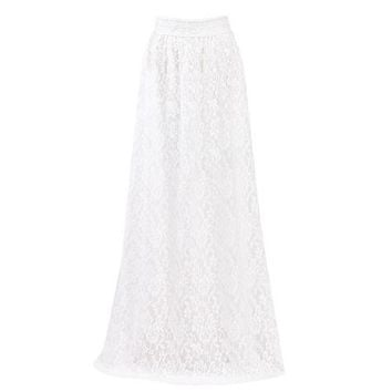 Elegant Women Double Lace Layer Chiffon Pleated Long Maxi Dress Elastic Waist Skirts