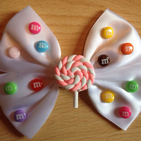 M&ms and Lollipop Hair Bow - OOAK, Sweets, Candy, Cute, Chocolates, Kawaii, Fairy Kei, Kitsch, Rainbow, Colorful Unique, White Satin Hairbow