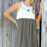 Mossy Path Olive Crochet Top Babydoll Sheer Back Dress