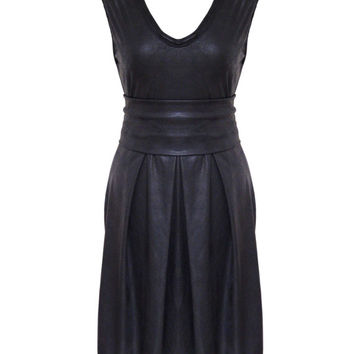 Little Black Dress, Black Leather Dress, Faux Leather Pleated Dress, Plus Size Dress, Black Party Dress, Designers Dress
