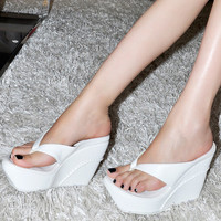 Platform Wedge Shoes for Women Sandal Thong Flip Flop High Heels shoes Beach platforms high heel sandals& wedges big size shoes