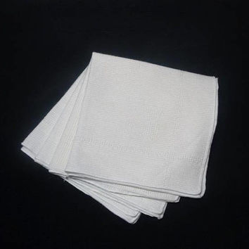 Set of 4 Vintage 1970s White Coarse Woven Dinner Napkins with Woven Design, 18 x 17 Inches, Vintage Table Linens, Home Decorating