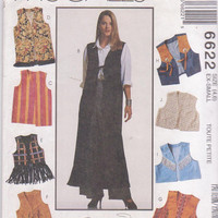 Sewing pattern for loose fitting vest, unlined, suitable for suede or leather, in 3 lengths misses size ex small 4 6 McCall's 6622 UNCUT