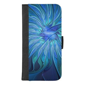 Blue Flower Fantasy Pattern, Abstract Fractal Art iPhone 8/7 Plus Wallet Case
