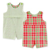 Chez Ami REV 1 PC Shortall Broadcloth/Seersucker Coral/Lime Boys Sizes 6M-4
