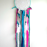 Boho Dream catcher, 9 inch diameter, crochet doily dreamcatcher, boho home decor, dreamcatcher wall hanging