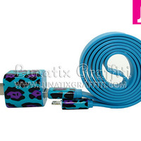2-in-1 Funky Cheetah Leopard Purple iPhone 5 Charger 3 ft - Also available in iPhone 4/4s available in 3 ft and 10 ft long cable