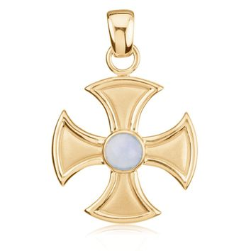 14k Yellow Gold and Chalcedony Maltese Cross Pendant