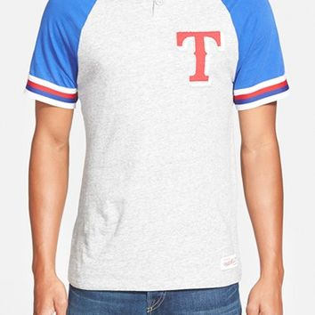 Men's Mitchell & Ness 'Texas Rangers - Visiting' Raglan Henley,