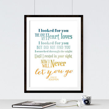 Song of Solomon - Bible Verse Art - Typographic Print - Scripture Wall Decor - Anniversary Gift - Romantic Bible Verse