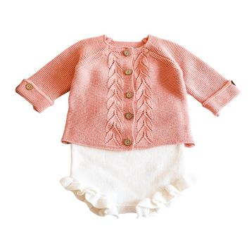 Newborn Baby Girl clothes Knitting Tops lace Bodysuit full Sleeves Outfits 0-24M girl Onesuit twins knitted bodysuits for toddler