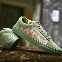 GUCCI X VANS Army green Women Men Print Double G Flat Leisure Shoes B-CSXY Army green