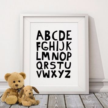 Alphabets, Typography Poster, Kids Nursery Print Art, Wall Picture Oil Painting Canvas Art Prints , Baby Room Decor No Frame